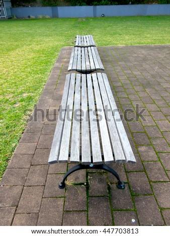Hard Landscaping Furniture - Timber Bench Seats Top - stock photo