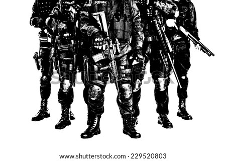 hard light image of special weapons and tactics SWAT team officers with guns - stock photo