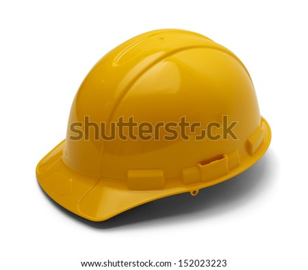 Hard Plastic Construction Helmet Isolated On White Background. - stock photo