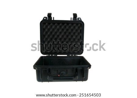 Hard Plastic Water Resistant Equipment Case. isolated on white with room for your text - stock photo