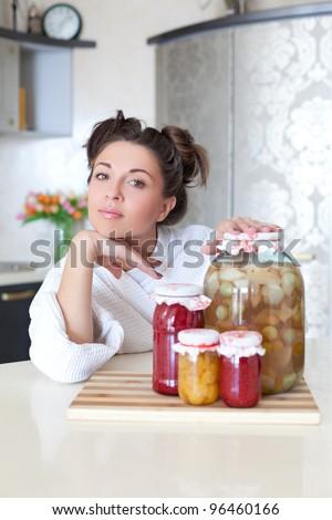 Hard-working housewife - stock photo
