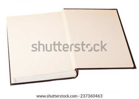 hardcover book opened on a white background - stock photo