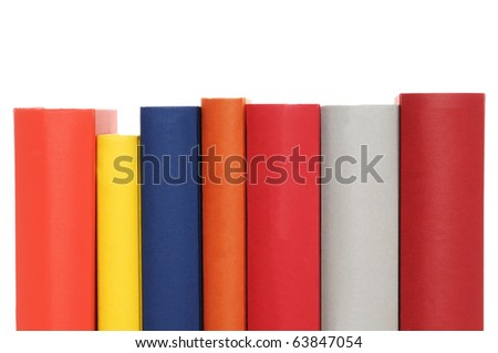 Hardcover books in front of a white background - stock photo