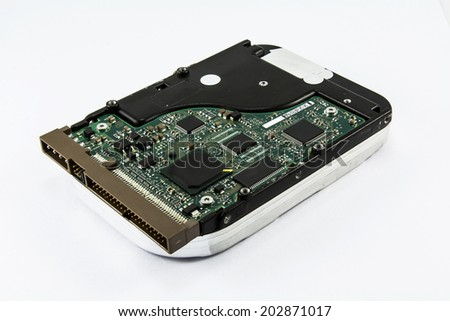 Harddisk drive, close up image of device - stock photo