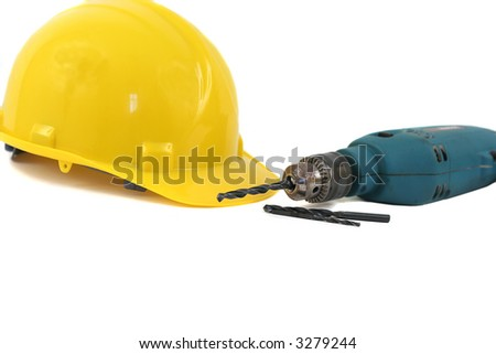 Hardhat and Drill - stock photo