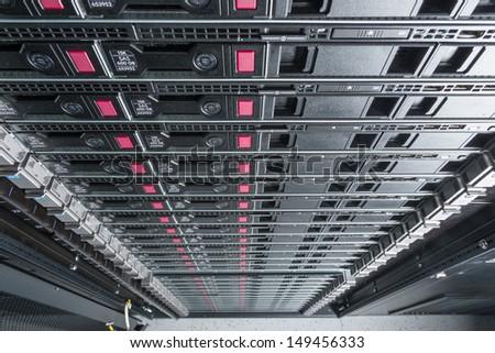 hardware in internet data center room - stock photo