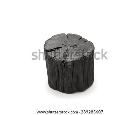 Hardwood charcoal Isolated on white. Kishu binchotan, japanese traditional white charcoal or hard wood charcoal, isolated on white background. - stock photo