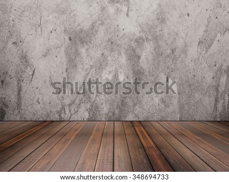hardwood floor and concrete wall texture - stock photo