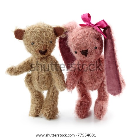 Hare toy and teddy bear - stock photo
