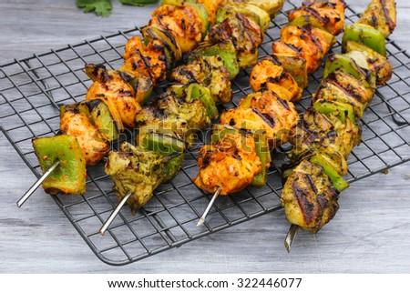 Hariyali  Chicken Tikka, selective focus - stock photo