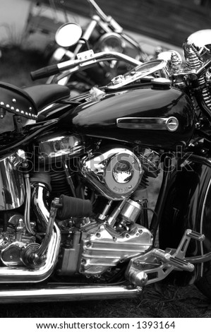 Harley Davidson panhead engine in B&W photo - stock photo