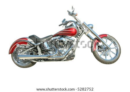 Harley motorcycle on white - stock photo