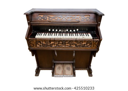 Harmonium. Pump organ, isolated on white. Status old - stock photo