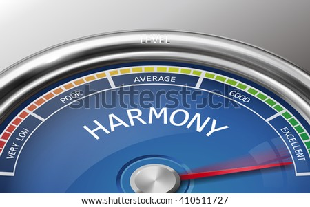 harmony conceptual 3d illustration meter indicator isolated on grey background - stock photo
