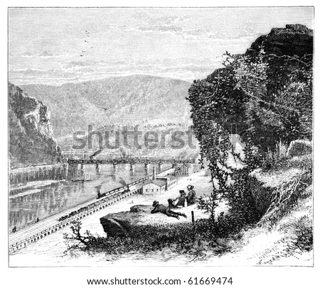 "Harpers Ferry, West Virginia. Illustration originally published in Hesse-Wartegg's ""Nord Amerika"", swedish edition published in 1880. - stock photo"