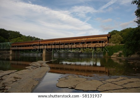 Harpersfield covered bridge view number two - stock photo