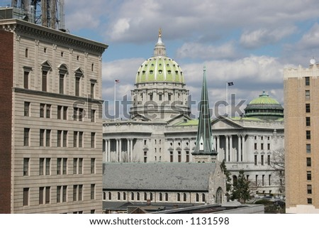Harrisburg, Pennsylvania Capitol Building.  Shot in very late winter. - stock photo