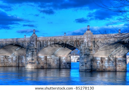 Harrisburg, Pennsylvania Market Street Bridge at Sunset. - stock photo