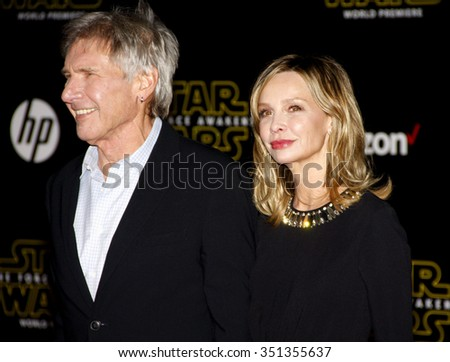 Harrison Ford and Calista Flockhart at the World premiere of 'Star Wars: The Force Awakens' held at the TCL Chinese Theatre in Hollywood, USA on December 14, 2015. - stock photo