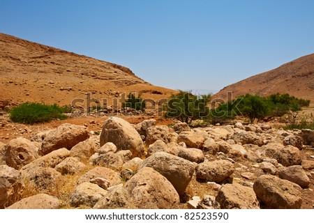 Harsh Mountainous Terrain in the West Bank, Israel - stock photo