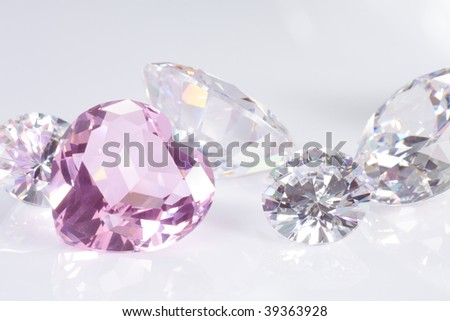 hart and brilliant diamonds on white - stock photo