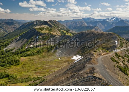 Hart's Pass, Washington. Hart's Pass is accessible by car and is the highest point in the state of Washington that one can drive revealing magnificent vistas and breathtaking canyons. - stock photo