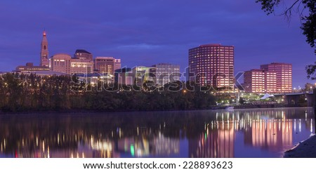 Hartford Connecticut riverfront skyline panorama taken before sunrise. - stock photo