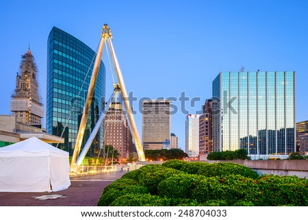 Hartford, Connecticut, USA skyline from Founders Bridge. - stock photo