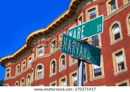 Harvard street st in Cambridge Massachusetts USA - stock photo