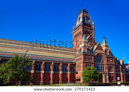 Harvard University historic building in Cambridge at Massachusetts USA - stock photo