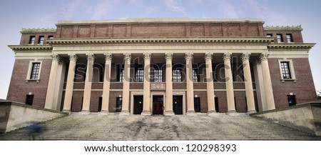 Harvard University Library. Success in education and tourist attraction in Cambridge, Massachusetts, USA - stock photo