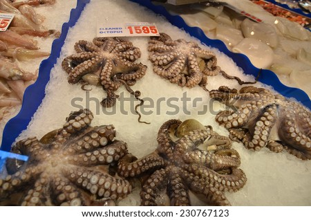 Harvest from the sea, produce of the sea / Seafood Market / Catch of the day - stock photo