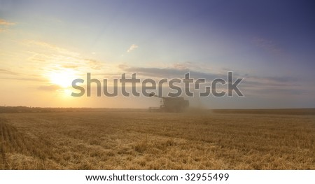 Harvest time / A combine harvester working in a wheat field - stock photo