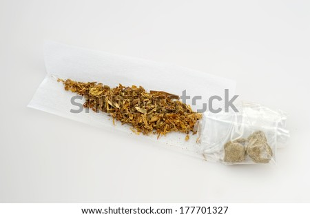 Hash joint cigarette isolated on white  - stock photo