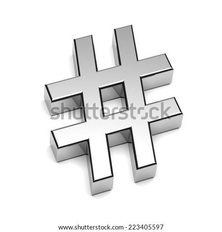 Hashtag Chrome Sign Isolated on White Background with Shadow 3D Illustration - stock photo