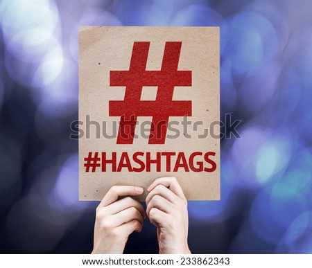 Hashtag Icon with #Hashtags written on colorful background with defocused lights - stock photo