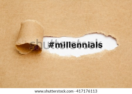 Hashtag Millennials appearing behind torn brown paper. Also known as Generation Y, they are the demographic cohort following Gen X.  - stock photo