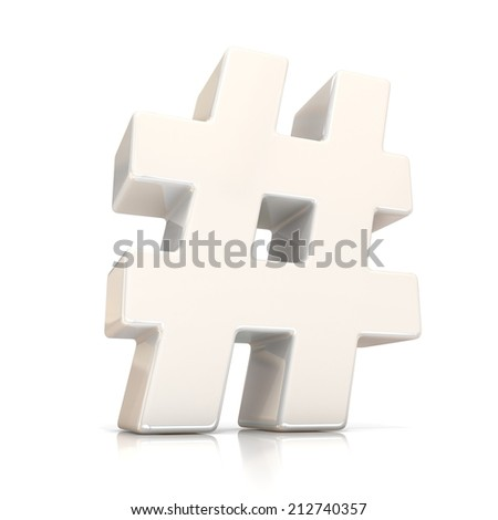 Hashtag, number mark 3d white sign isolated on white background  - stock photo