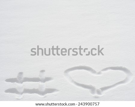 Hashtag snow heart, love concept, selective focus - stock photo