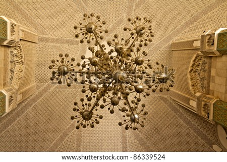 Hassan II Mosque Casablanca interior detail. - stock photo
