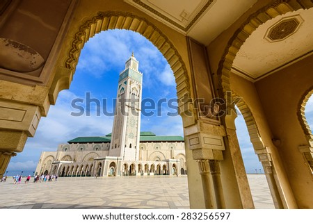 Hassan II Mosque in Casablanca, Morocco. - stock photo