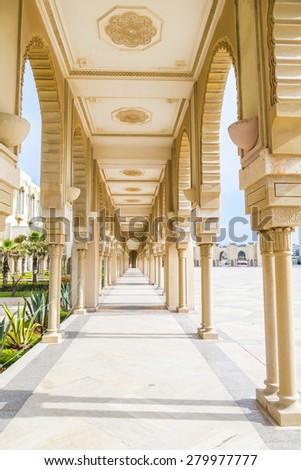 Hassan II Mosque in Casablanca, Morocco - arcades - stock photo