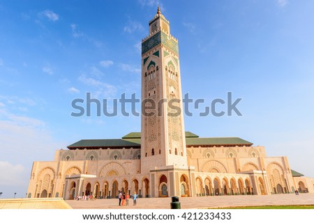 Hassan II Mosque or Grande Mosquee Hassan II, a mosque in Casablanca, Morocco. It is the largest mosque in Morocco and the 13th largest in the world. - stock photo