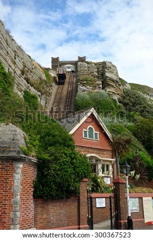HASTINGS, ENGLAND - JULY 27. The United Kingdom's steepest funicular railway is not only a structure of national importance but also a source of immense local pride. July 27 2015 in Hastings, England. - stock photo