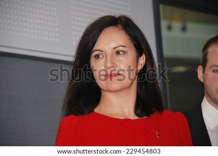 HASTINGS, ENGLAND - NOVEMBER 10, 2014: Caroline Flint, Shadow Secretary of State for Energy and Climate Change and Labour M.P. for Don Valley, attends an energy efficiency policy announcement. - stock photo