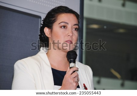 HASTINGS, ENGLAND - NOVEMBER 10, 2014: Sarah Owen, Labour party Parliamentary Candidate for Hastings and Rye, speaks at an energy policy meeting. The next General Election will be held in May 2015. - stock photo