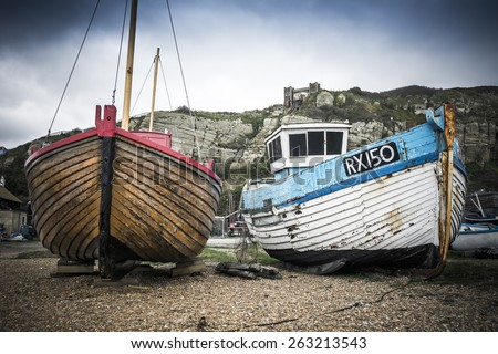 Hastings fishing boats  - stock photo