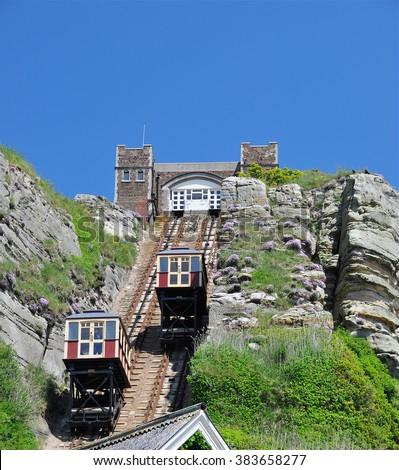 HASTINGS, UK - JUNE 8, 2015. The East Hill Cliff Railway, a funicular double track opened in 1903 and links the cliff top Country Park to beach level at Hastings in the East Sussex county of England. - stock photo
