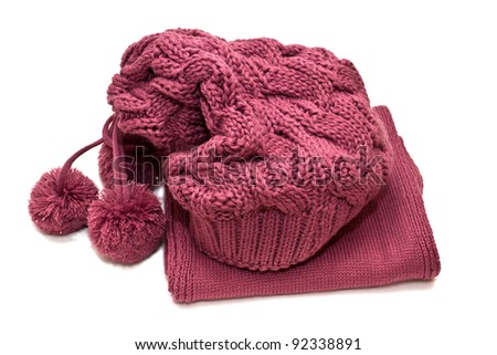 hat and scarf on a white background - stock photo