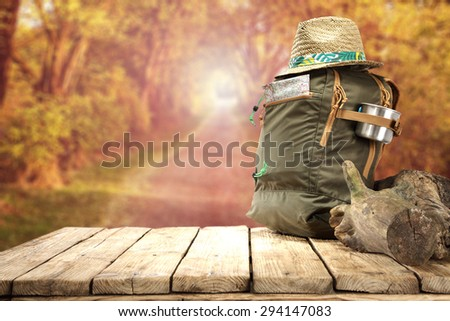 hat backpack and autumn  - stock photo